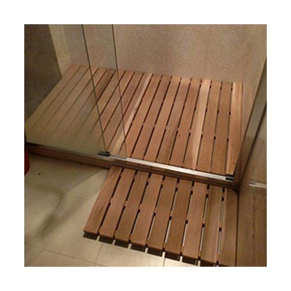 HUAHUA風呂マット 天然赤杉のバスマット滑り止めの木製の床のマット防水シャワーマットスパサウナバスルームマット (Color : Lightの1枚目の写真