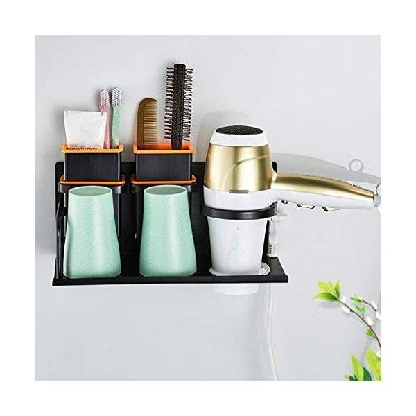浴室用ラック 浴室の棚トイレの残骸仕上げ金属吊り下げ式ヘアドライヤー備品の保管実用性ギフト (Color : Black, Size :の1枚目の写真