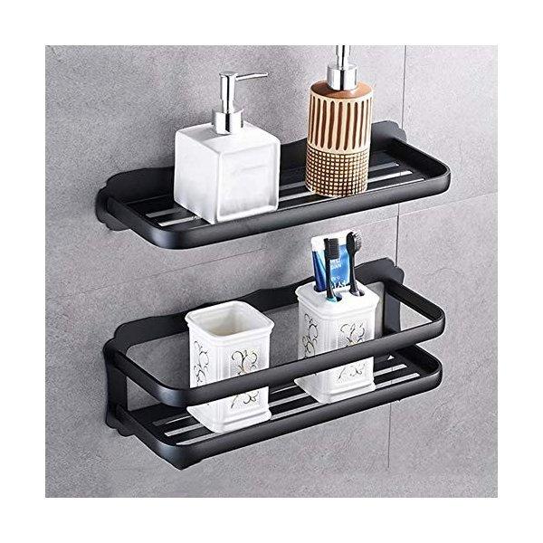 ZHAOHUI 浴室用ラック スペースアルミ 防水 耐湿性 衝突防止 ガードレール付き パンチフリーインストール 3色、 6サイズ (色 : 黒,の1枚目の写真