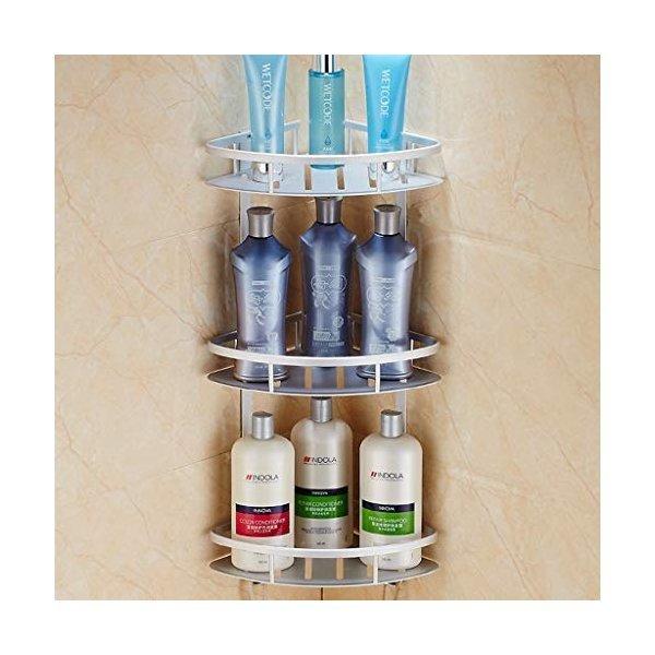 DFLZJJ 浴室用シェルフ- 厚い浴室三脚キッチンバスルームラックコーナーフレームスペースアルミ三角形バスケット壁掛け (Color :の1枚目の写真