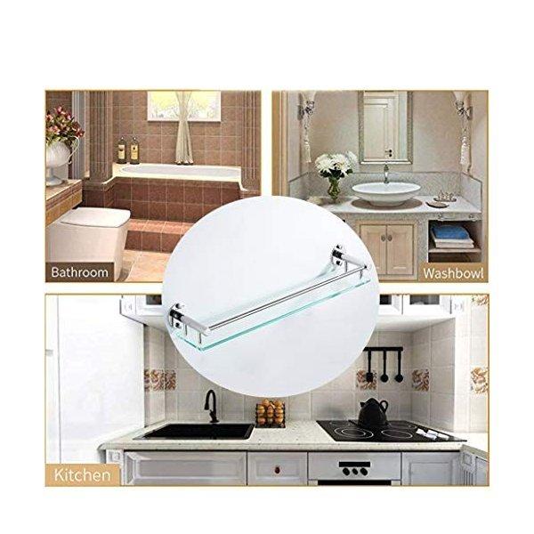 浴室用ラック 洗濯ラック棚洗面台壁掛け浴室衛生家庭用強化ガラストイレ壁の穴のあいたトイレ,60cmの1枚目の写真