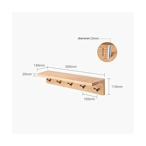 壁掛け棚フローティング木製コートフックラックフローティング本収納オーガナイザーメタルフック強くて丈夫なブラウンウッドカラー JSSFQKの1枚目の写真