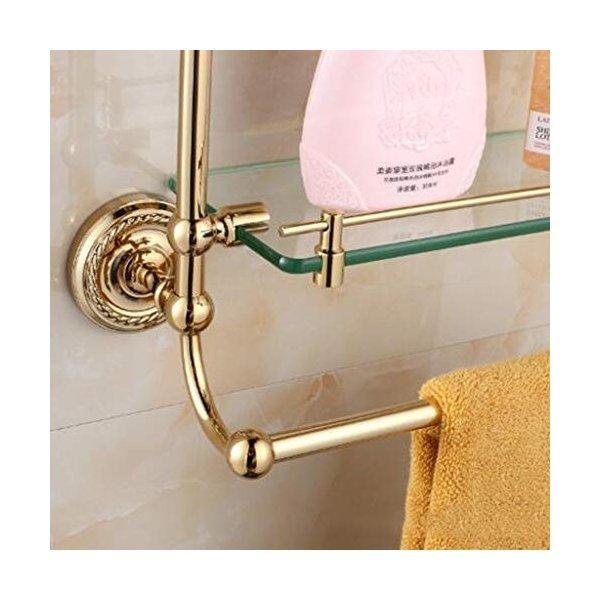 浴室用ラック 浴室の棚の石鹸のバスケットの金属タオルの棚の下水管のガラス仕切りフレームの洗面所のブラシのトイレットペーパー実用的 (Color :の1枚目の写真