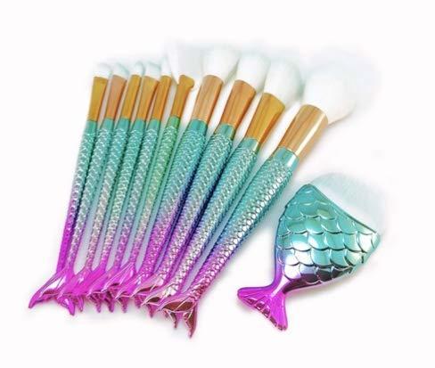 SDK 人気マーメイドブラシ メイクアップ ブラシ 10+1 11本セット ナイロン製極細毛 化粧筆 日本発送!の1枚目の写真