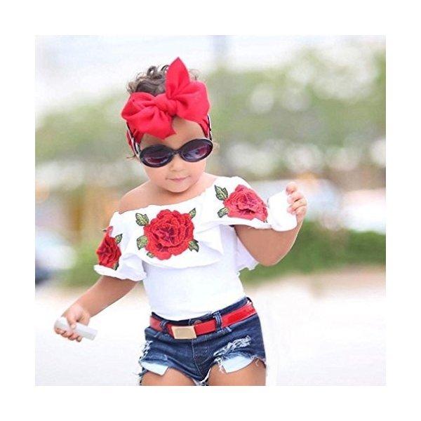 BAO8 子供服 女の子 夏物 オフショルダー 花柄シャツ 半袖シャツ ローズTシャツ トップス 赤ちゃん服 ガールズ 春着 普段着の1枚目の写真