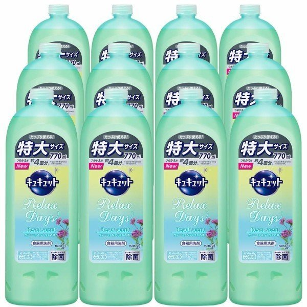 キュキュット RelaxDays(リラックスデイズ) 食器用洗剤 ヴァーベナ&シトラスの香り 詰め替え 770ml ×12個の1枚目の写真