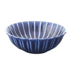 小兵さんちの食卓・ぎやまん陶 菊形浅小鉢 12cmx高さ4cm 茄子紺ブルーの1枚目の写真
