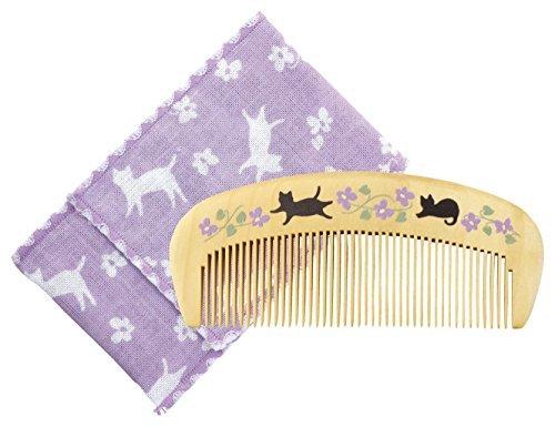 くろちく 椿堂潤いつげ櫛ケース付 花猫の1枚目の写真