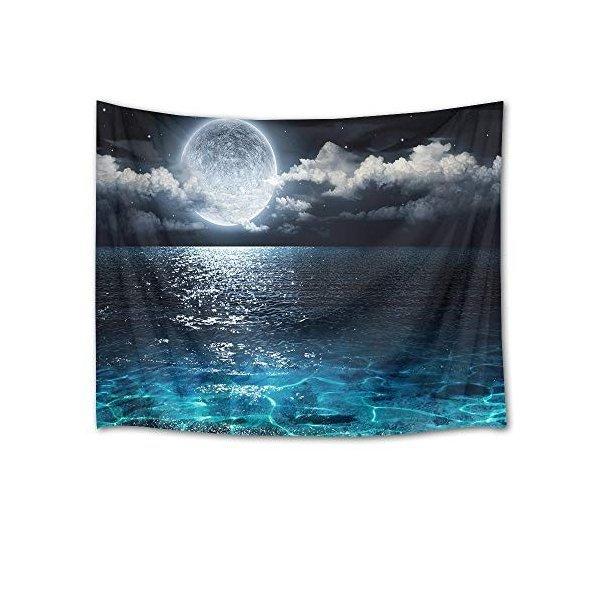 LB 夜景タペストリー 美しい満月の夜空と海 おしゃれな壁掛け インテリア ファブリック装飾用品 モダンなアート 多機能 模様替え 部屋 窓カーテンの1枚目の写真