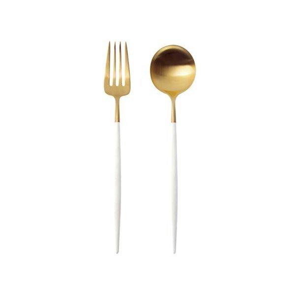 クチポール GOA ホワイト/マットゴールド デザート フォーク スプーン セットの1枚目の写真
