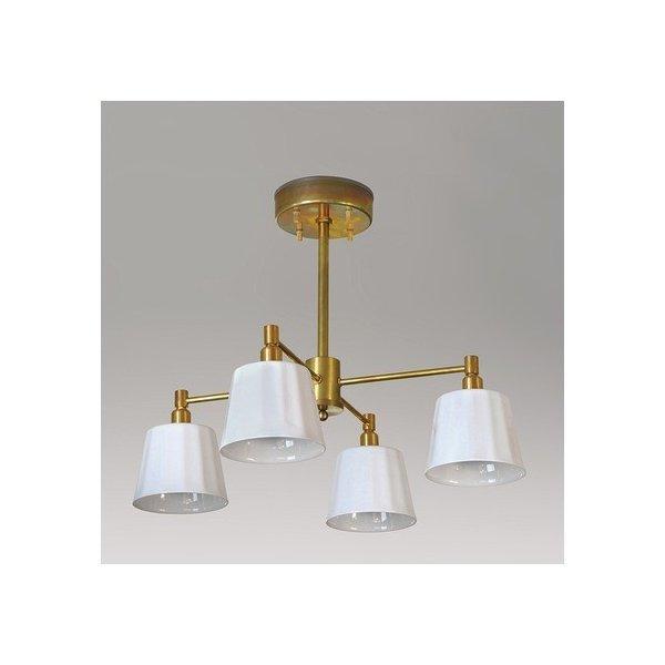シバタ照明 インダストリアルライト 真鍮生地4灯ペンダントライト 照明プレート 1台の1枚目の写真