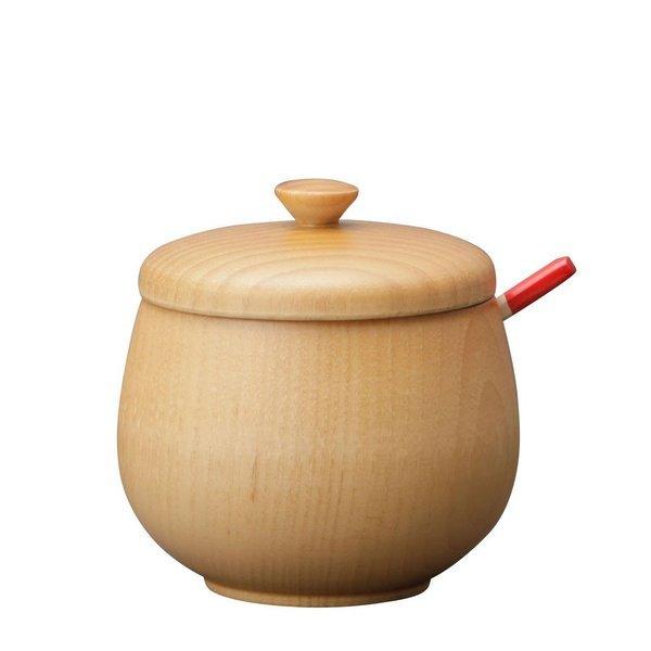 木製 カトラリー かわいい おしゃれ |薬味入れ スプーン付 色型選択肢:ナチュラル/漆/ダークブラウン S-11の1枚目の写真