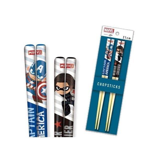キャプテンアメリカ&ウィンターソルジャー お箸 キャラクター グッズ 21cm 竹箸セット グリヒル マーベルの1枚目の写真