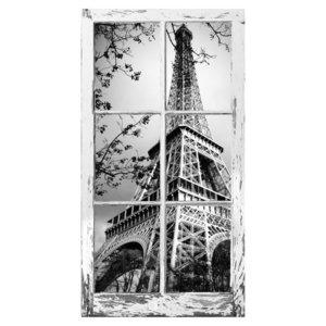 ウォールステッカー 窓枠 エッフェル塔 Mサイズ 日本製 MU3 WAKU モノクロ 白黒写真 フランス パリ インスタ 映え 風景 景色 旅行 写真 シールの1枚目の写真
