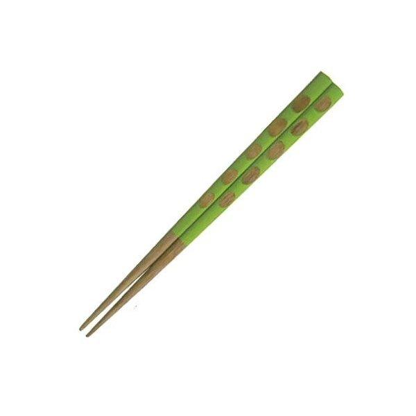 子供箸 ライトグリーン 天然木お箸 18cmの1枚目の写真