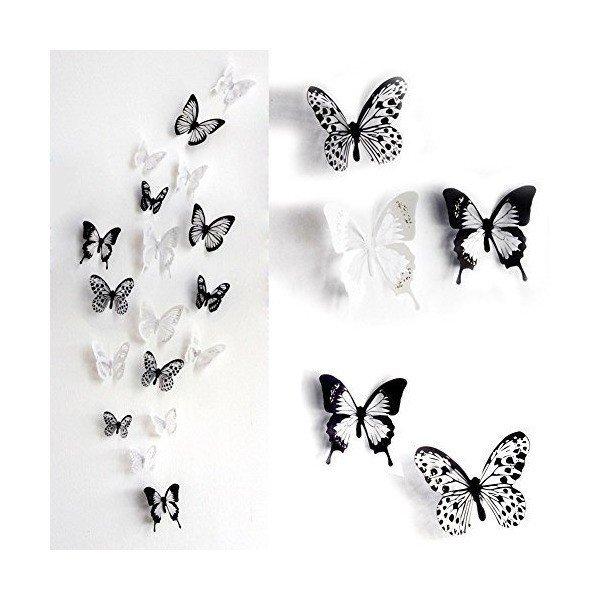 EQLEF 部屋に蝶々飛んでる! 3D蝶のウォールステッカー インテリア 壁飾り おしゃれ 小中、大3サイズ混合の1枚目の写真