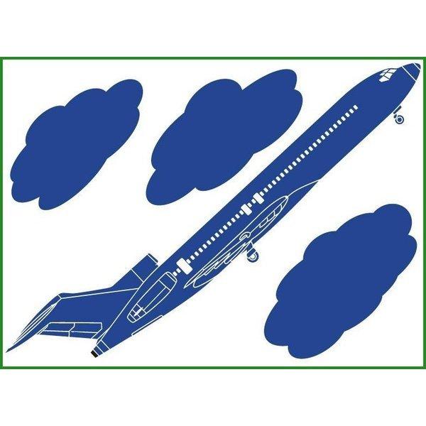WallStyle+ ウォールステッカー 飛行機 450mm×600mm ws-158 プリンセスブルー b03の1枚目の写真