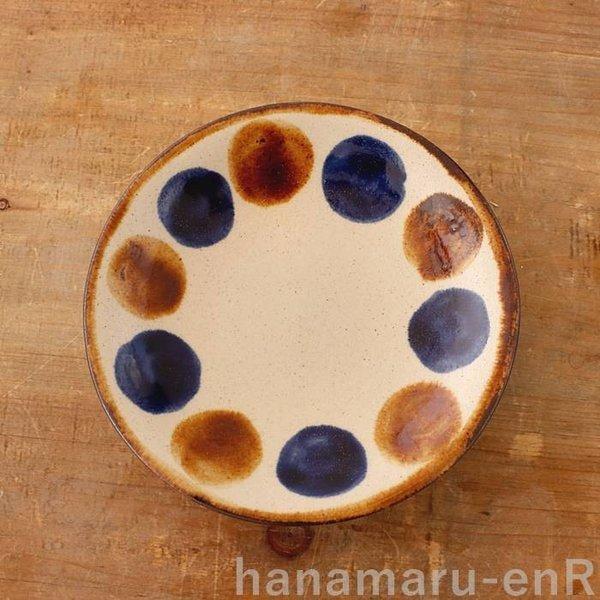 やちむん 取皿 中城窯 4.5寸皿 点打_飴+コバルト 丸皿 小皿 ドット おしゃれ 琉球焼 沖縄陶器 皿 食器の1枚目の写真