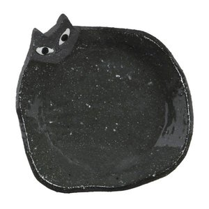光陽陶器 小皿 黒 9.5×9.5cm 手作り猫小皿黒 23491の1枚目の写真