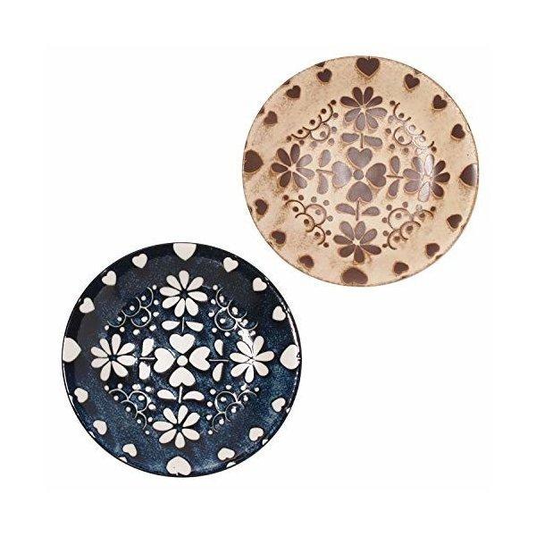 みのる陶器 中皿 アンティーク ネイビー&ベージュ 直径20cm 2色入の1枚目の写真
