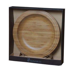 RIVERET 竹製 プレート おしゃれな木のお皿 22cm ペアセット 木製 ギフトBOX入り 日本製の1枚目の写真