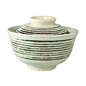 長谷製陶 飯碗 白 350ml 長谷園 ふた付碗 コマスジ NWH-11の1枚目の写真
