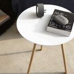 丸テーブル ホワイト スチール 木 サイドテーブル プレーン 白・黒 山崎実業の1枚目の写真