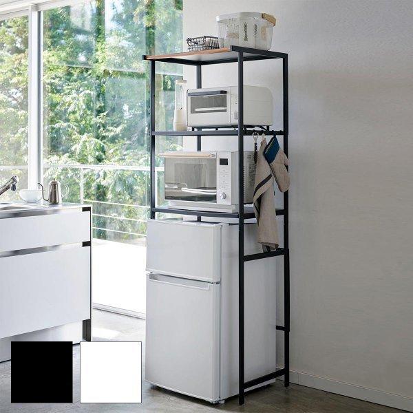 冷蔵庫上ラック タワー ブラックの1枚目の写真