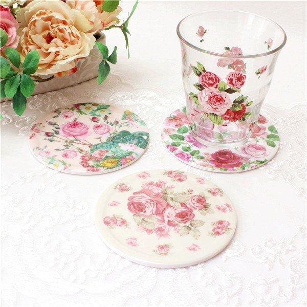 コースター おしゃれ お洒落 北欧 セット ギフト かわいい 可愛い 薔薇雑貨 姫系 花柄 ボタニカル 母の日ギフトの1枚目の写真