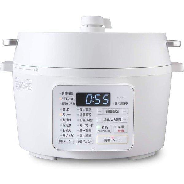 アイリスオーヤマ 電気圧力鍋 4.0L レシピブック付き ホワイト PC-MA4-Wの1枚目の写真