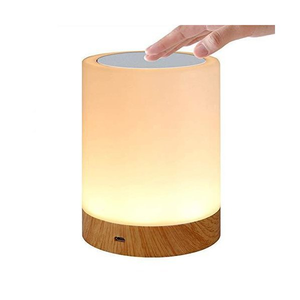 Bostar LEDナイトライト テーブルランプ usb充電 3段階調光 6色変換 タッチ式 授乳ライト ベッドサイドライト 木目調の1枚目の写真