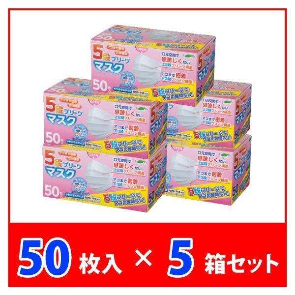 まとめ買い 5段プリーツマスク やや小さめサイズ 50枚入×5箱セット 不織布 女性 子ども 飛沫 乾燥 花粉 予防 対策 LC-1000-021の1枚目の写真