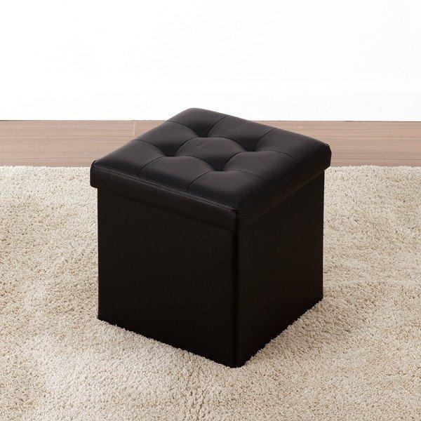 オットマン 椅子 スツール 収納 ボックス 正方形 ブラックの1枚目の写真