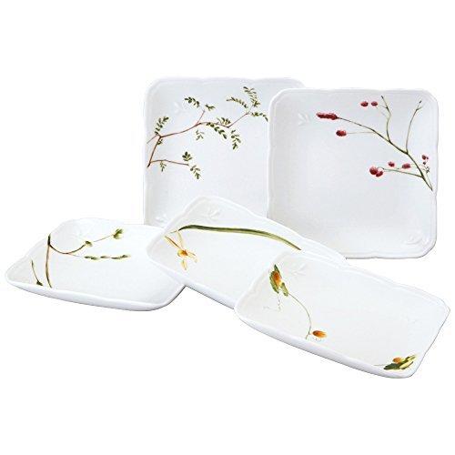 NARUMI プレート 皿 セット 里花暦 花柄 径11cm 5枚セット スクエア 電子レンジ温め対応 日本製 4の1枚目の写真