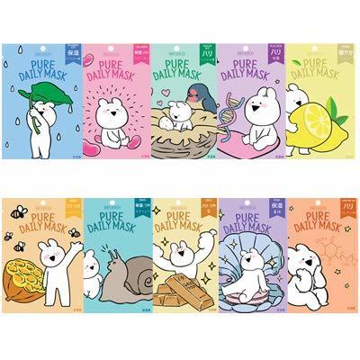 スキンデザイン ピュアデイリーマスクシート10種類 SKIN DESIGN PURE DAILY MASK 韓国コスメ/マスクシート/すこぶる動くウサギの1枚目の写真