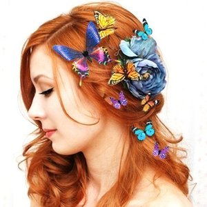 Women Lady Girls Bridal Butterfly Hairclip Beautiful Colorfulの1枚目の写真