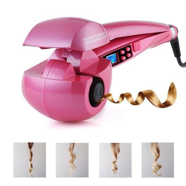 ピンク ヘアアイロン 自動巻き髪 髪を挟んで握るだけ パーフェクトカール 電動カールアイロン ASK-030aの1枚目の写真