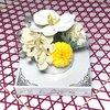 シャボンフラワー ソープフラワー お花ギフト 石鹸 陶器アレンジ 胡蝶蘭 イエロー プレゼントの1枚目の写真