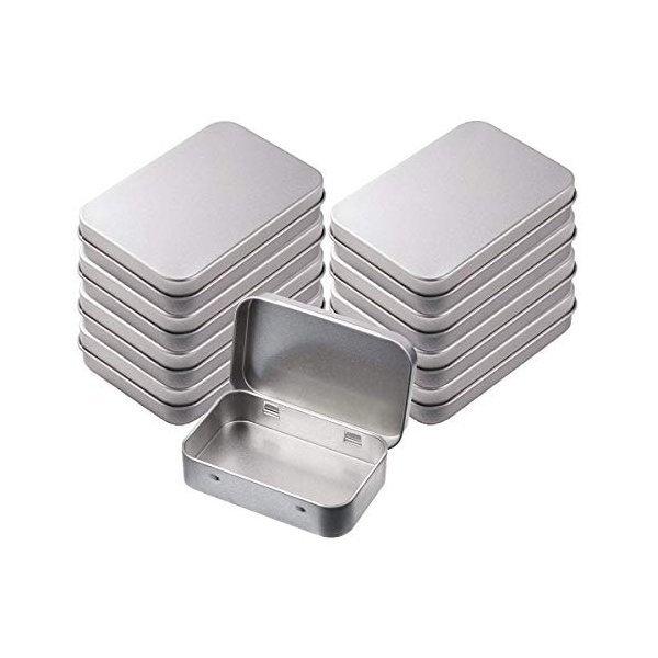 INTVN メタルヒンジトップブリキボックス 容器 長方形ブリキ缶 空の箱 ミニポータブルコンテナ ホームオーガナイザ 8パックの1枚目の写真