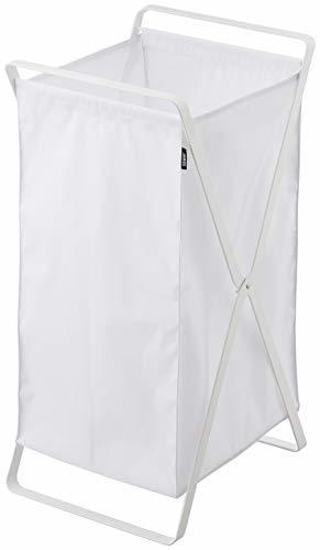 タワー tower ランドリーバスケット wh ホワイト | スチール ランドリー ボックス 45L 折りたたみ 取っ手つき スタイリッシュ 白の1枚目の写真