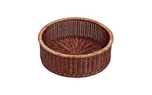 円型:ブラウン : ナチュラルランドリー ラタン脱衣カゴ 店舗・施設に ブラウン バスケット かご 籠 籐 丸型の1枚目の写真