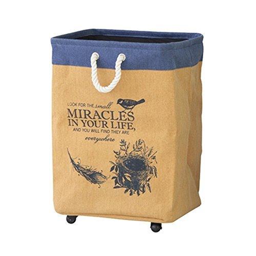 スクエアバスケット 〈LFS-292YE〉上部ネット付 ランドリー バッグ ワゴン キャスター付 洗濯物入れ 洗濯かご 鳥 バード インテリア おしゃれの1枚目の写真