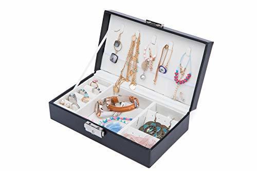 ジュエリーボックス アクセサリーボックス ネックレス・ピアス・イヤリング収納 鍵付き ピア仕切り板の1枚目の写真