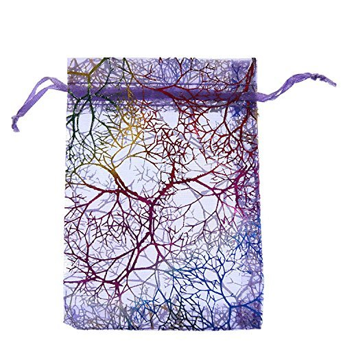 SumDirect 100枚9x12cm珊瑚柄オーガンジー巾着袋 ギフトバッグ ジュエリーポーチ プレゼントラッピング チョコ おの1枚目の写真