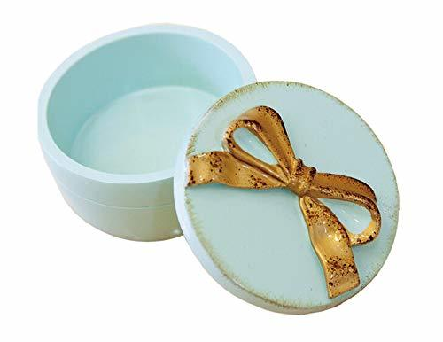 輸入雑貨 フレンチ リボン ジュエリーボックス ピルケース ブルー ゴールド 小物入 アンティーク風 シャビーシック KST181217B リビングスタジオの1枚目の写真