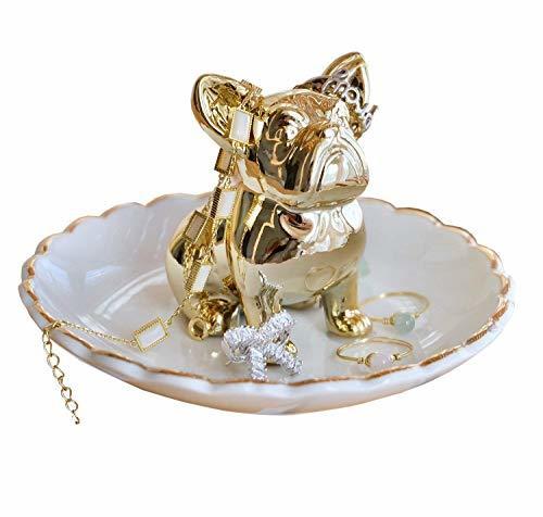 アクセサリースタンド 犬 金色 指輪ホルダー 収納 小物入れ バレンタインデー 豆皿 鍵置き 置物 ジュエリートレイ トレーの1枚目の写真