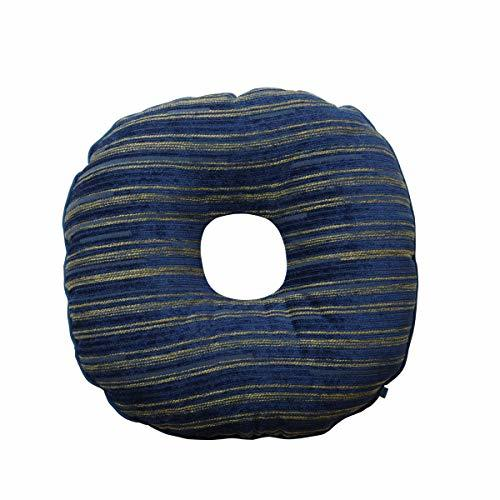 北欧風 椅子クッション/座布団 〔円座型 ネイビー〕 約40cm 丸型 日本製 洗える シェニール織 『エルピス』の1枚目の写真