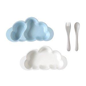 10mois mamamanma プレートセット ブルー お食事セット 食器 離乳食 雲の形 出産祝い 耐熱 あすつくの1枚目の写真
