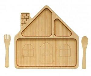ファンファン ハウス14プレートセット FUNFAM 竹食器 プレート 皿 ウッドプレート 日本製 国産 安心 安全 キッズ プレゼント 竹食器雑貨の1枚目の写真