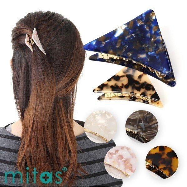 ヘアクリップ バンスクリップ 三角 べっ甲風 ワニクリップ ヘアアクセサリー 髪飾り ヘアアレンジ ヘアアクセ 結婚式 卒業式の1枚目の写真